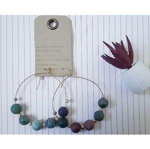 BaubleBar | Blue Purple Beaded Boho Hoop Earrings
